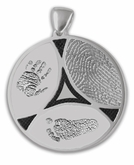 Family Ties Thumbies 3D Fingerprint Sterling Silver Keepsake Memorial Pendant/Charm - Three Prints