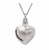 Fancy Heart Sterling Silver Cremation Jewelry Necklace