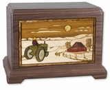 Farm and Tractor with 3D Inlay Walnut Wood Hampton Cremation Urn