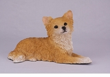 Fawn and White Long Hair Chihuahua Hollow Figurine Pet Cremation Urn - 2727
