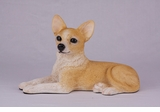 Fawn and White Short Hair Chihuahua Hollow Figurine Pet Cremation Urn - 2726