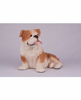 Fawn White Bulldog Hollow Figurine Pet Cremation Urn - 2723