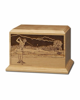 Female Golfer Cherry Wood Cremation Urn
