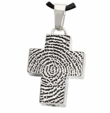 Fingerprint Classic Cross Stainless Steel Memorial Cremation Pendant Necklace