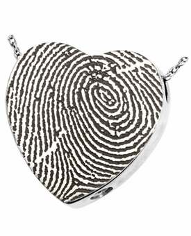 Fingerprint Heart Slider Sterling Silver Memorial Cremation Pendant Necklace