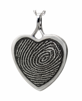Fingerprint Heart Sterling Silver Memorial Pendant Necklace
