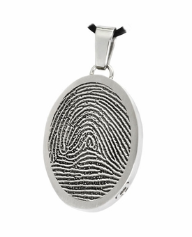 Fingerprint Oval Stainless Steel Memorial Cremation Pendant Necklace