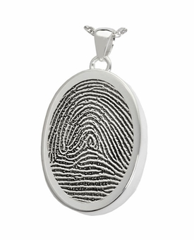 Fingerprint Oval Sterling Silver Memorial Cremation Pendant Necklace