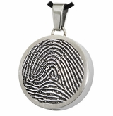 Fingerprint Round Stainless Steel Memorial Cremation Pendant Necklace