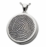 Fingerprint Round Sterling Silver Memorial Cremation Pendant Necklace
