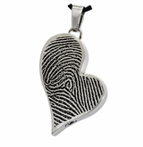 Fingerprint Teardrop Heart Stainless Steel Memorial Cremation Pendant Necklace