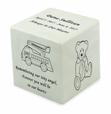 Fire Truck White Small Cube Infant Cremation Urn - Engravable