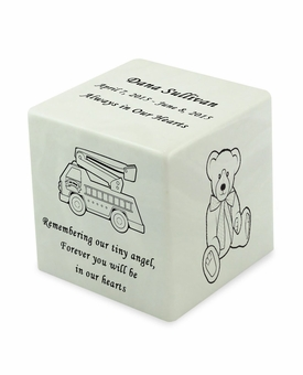Fire Truck Glacier White Small Cube Infant Cremation Urn - Engravable