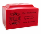 Firefighter Fire Engine Red Classic Cultured Marble Cremation Urn Vault