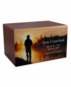 Fisherman at Dawn Eternal Reflections II Cherry Finish Wood Cremation Urn