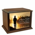 Fisherman at Dawn Eternal Reflections Wood Cremation Urn - 3 Sizes