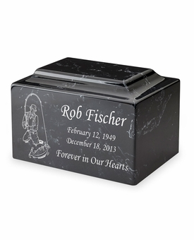 Fisherman Classic Cultured Marble Cremation Urn Vault - Engravable - 34 Color Choices