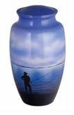 Fisherman Dreams Hand Painted Cremation Urn