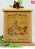 Fisherman Engraved Wood Cremation Urn