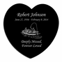 Fisherman in Boat Laser-Engraved Heart Plaque Black Granite Memorial