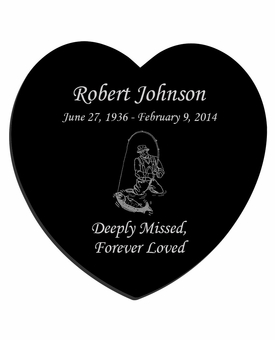 Fisherman Laser-Engraved Heart Plaque Black Granite Memorial