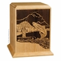 Fisherman's Paradise Cherry Wood Cremation Urn