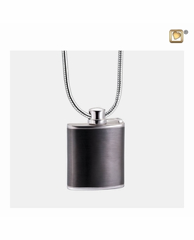 Flask Two Tone Sterling Silver Cremation Jewelry Pendant Necklace