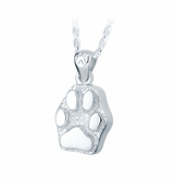 Flat Paw Print Heart Sterling Silver Pet Cremation Jewelry Pendant Necklace