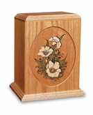Floral Design Dimensional Wood Cremation Urn - Engravable