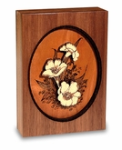 Floral Design Dimensional Wood  Keepsake Cremation Urn - Engravable