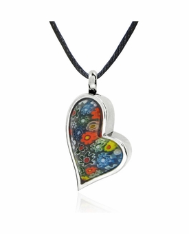 Floral Heart Stainless Steel Cremation Jewelry Pendant Necklace