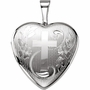 Floral Heart with Cross Sterling Silver Memorial Locket Jewelry Necklace