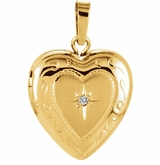 Floral Heart with Diamond Starburst 14k Yellow Gold Memorial Locket Jewelry Necklace