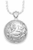 Flower and Butterfly Round Sterling Silver Cremation Jewelry Pendant Necklace