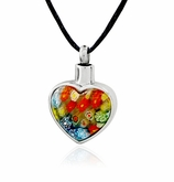 Flower Heart Stainless Steel Cremation Jewelry Pendant Necklace