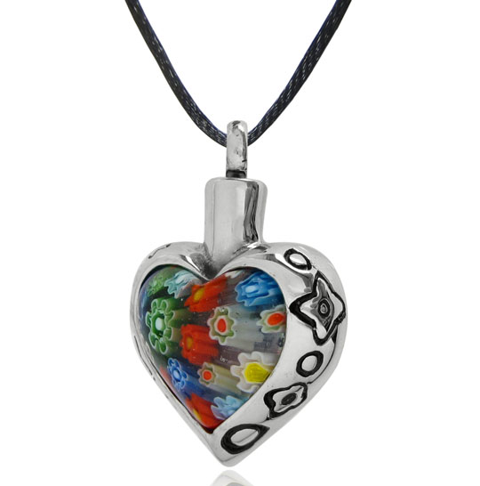 Cremation Jewelry Heart Cremation Urn Necklace with Floral Border