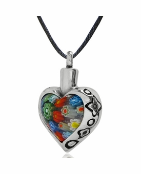 Flower Heart with Flower Border Stainless Steel Cremation Jewelry Pendant Necklace