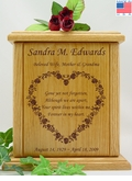 Flower Heart With Poem Engraved Wood Cremation Urn