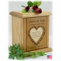 Flower Heart With Recessed Poem Engraved Wood Cremation Urn