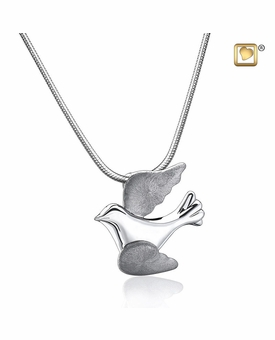 Flying Dove Two Tone Rhodium Plated Sterling Silver Cremation Jewelry Pendant Necklace