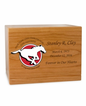 Football  Cremation Urn - Solid Cherry Wood 1
