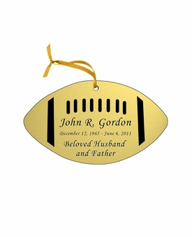 Football Double-Sided Memorial Ornament - Engraved - Gold