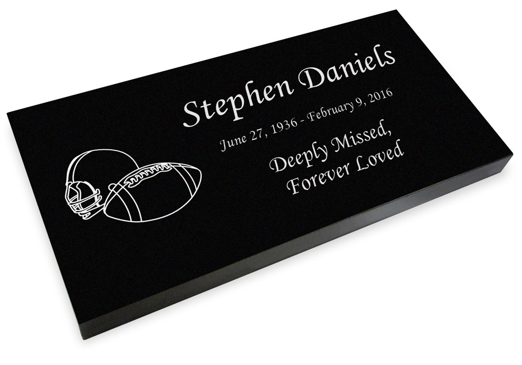Football Grave Marker Black Granite Engraved Memorial Headstone