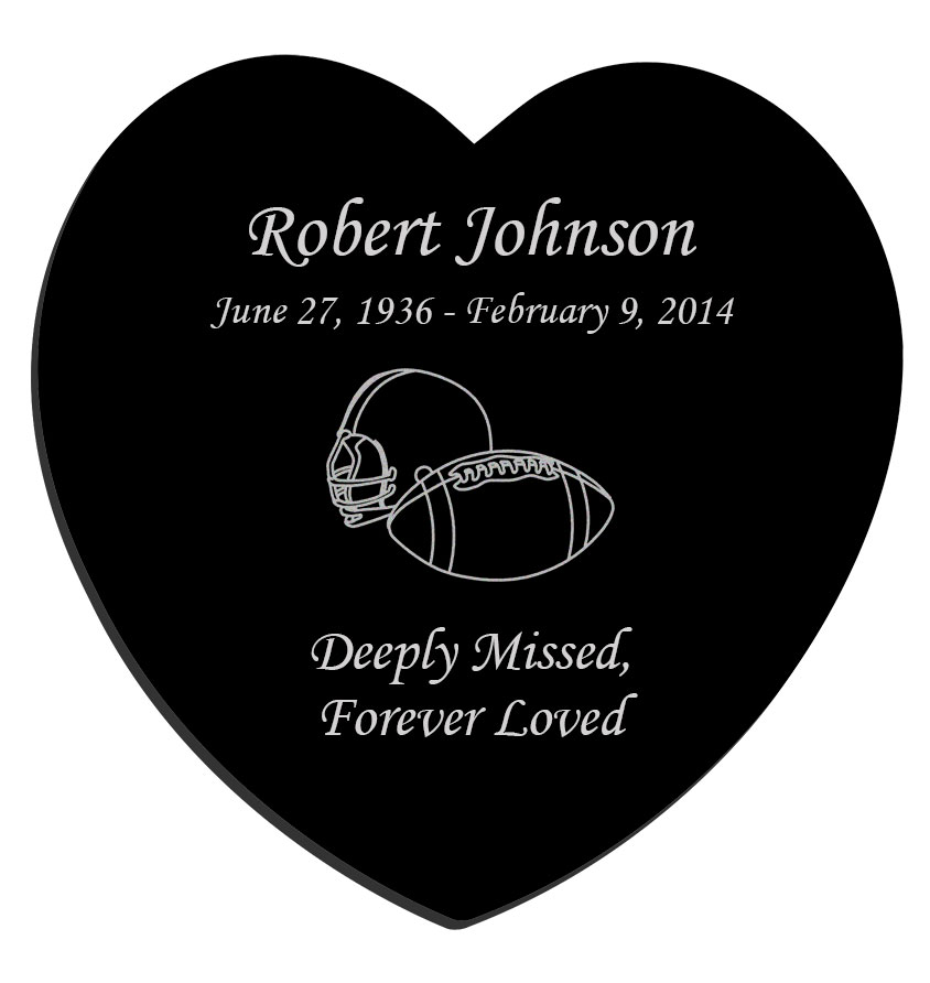 Football Laser Engraved Heart Plaque Black Granite Memorial