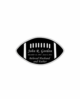 Football Nameplate - Engraved Black and Silver - 2-3/4  x  1-5/8