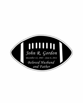Football Nameplate - Engraved Black and Silver - 3-1/2  x  2
