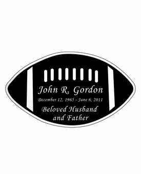 Football Nameplate - Engraved Black and Silver - 4-1/4  x  2-1/2