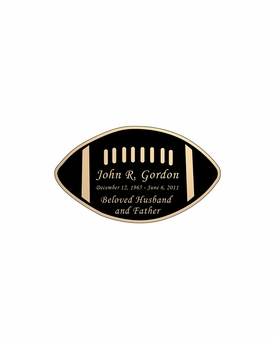 Football Nameplate - Engraved Black and Tan - 2-3/4  x  1-5/8