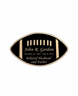 Football Nameplate - Engraved Black and Tan - 3-1/2  x  2