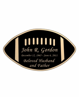 Football Nameplate - Engraved Black and Tan - 4-1/4  x  2-1/2